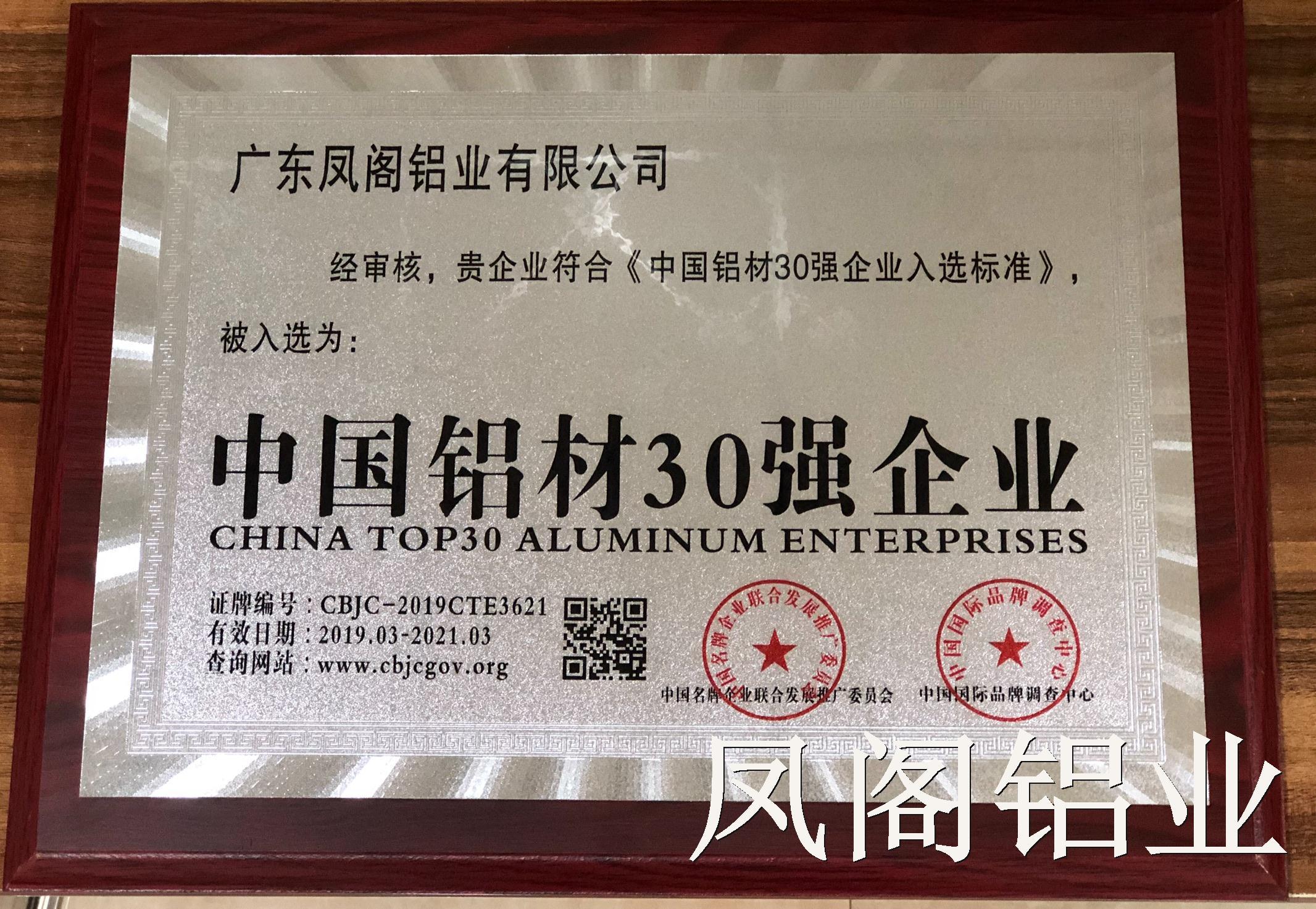 中国铝材30强企业